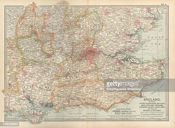 Map Of England Map Of England With Oxford Buckingham Hertford Essex Middlesex Berkshire Hampshire Parts Of Bedford And Wiltshire Circa 1902 From The...