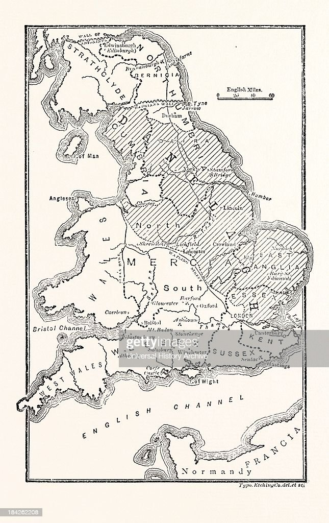 Map Of England Districts.Map Of England Showing The Anglo Saxon Kingdoms And Danish Districts