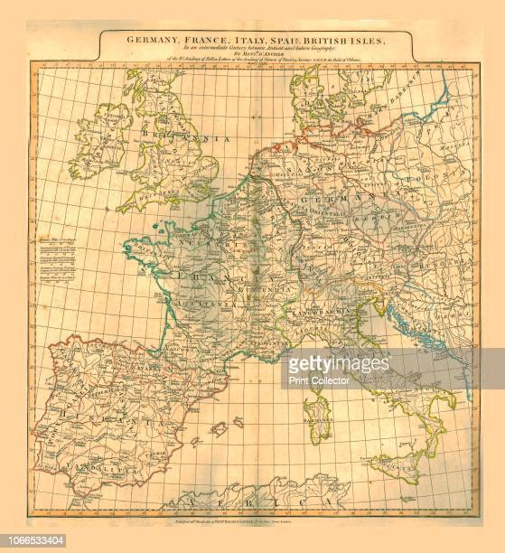Map of Europe 1821 Map showing Germany France Italy Spain and the British Isles 'in an intermediate Century between Antient and Modern Geography'...