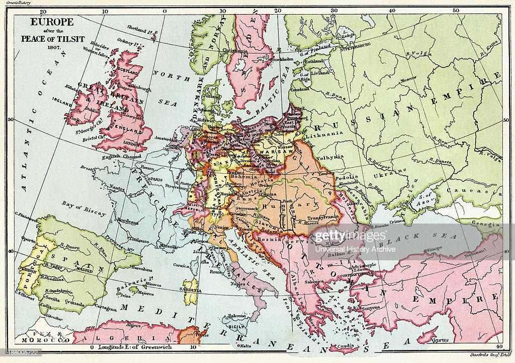 Map Of Europe After The Peace Of Tilsit In 1807 From The Book Short