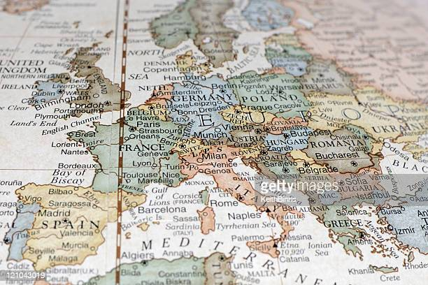 A map of Europe and its continents