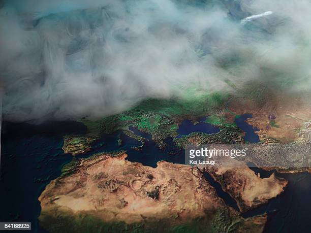 Map of Europe in fog
