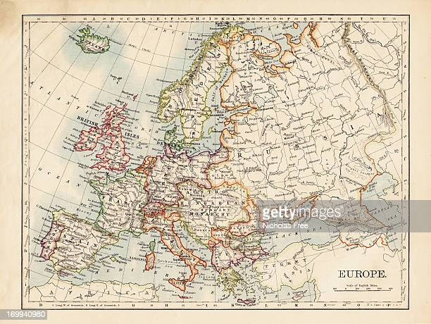 map of europe - europe stock pictures, royalty-free photos & images