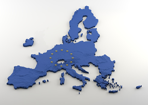 3D Map of European Union post-Brexit (without UK) with EU blue flag texture and gold stars 1146111981