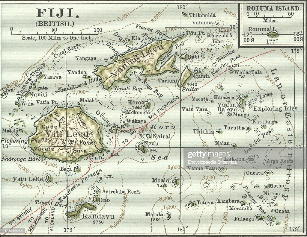 Map Of Fiji Islands Pictures Getty Images - Fiji islands map