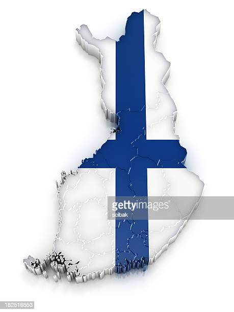 a map of finland with the design of their flag - finnish flag stock photos and pictures