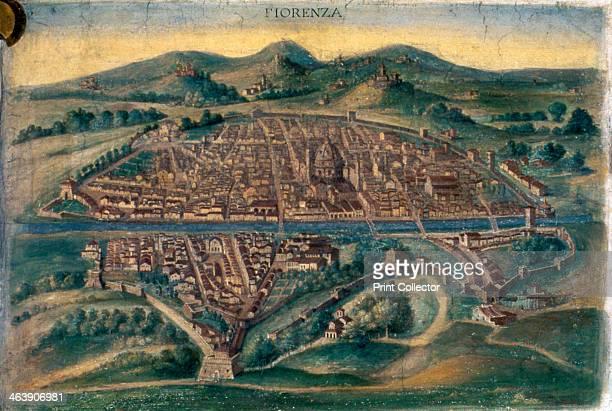 Map of Florence 15th century Pictorial Italian map showing the layout of the city From the Gallery of Maps Vatican Museum Rome