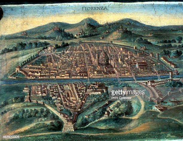 Map of Florence 15th century View of the city showing the River Arno and Brunelleschi's Duomo From the Gallery of Maps Vatican Museum Vatican City...