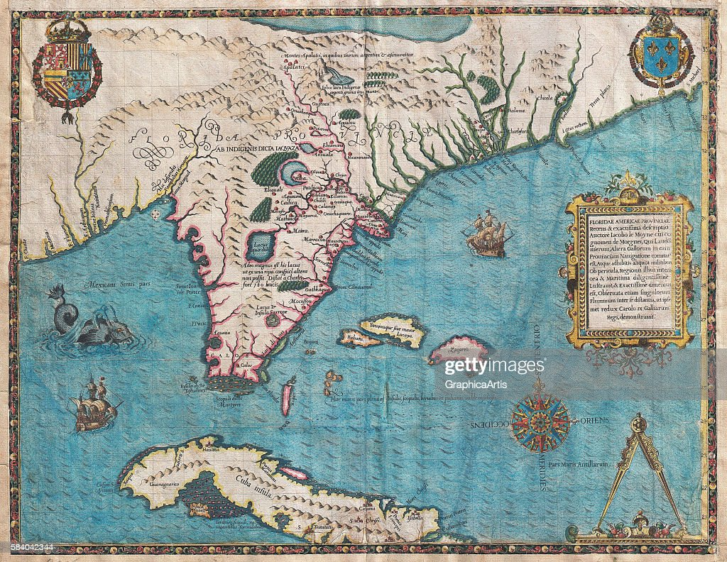 Map of florida and cuba pictures getty images map of florida and cuba by jacques le moyne french circa 1533 gumiabroncs Image collections