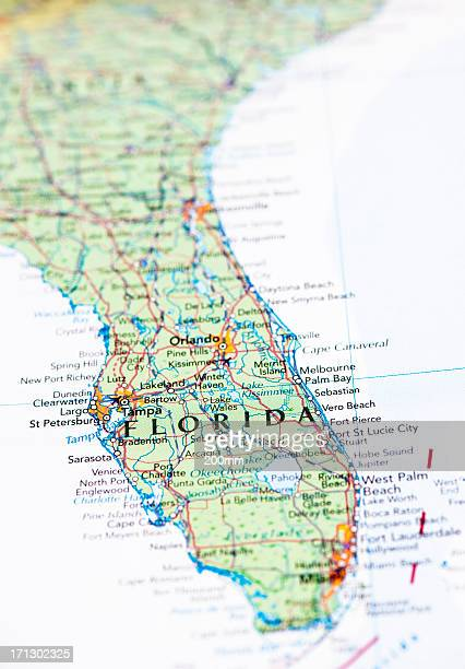 map of florida - florida us state stock pictures, royalty-free photos & images