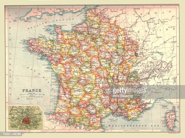 Map of France 1902 Showing the various administrative regions and departments and insets of Corsica and Paris From The Century Atlas of the World...