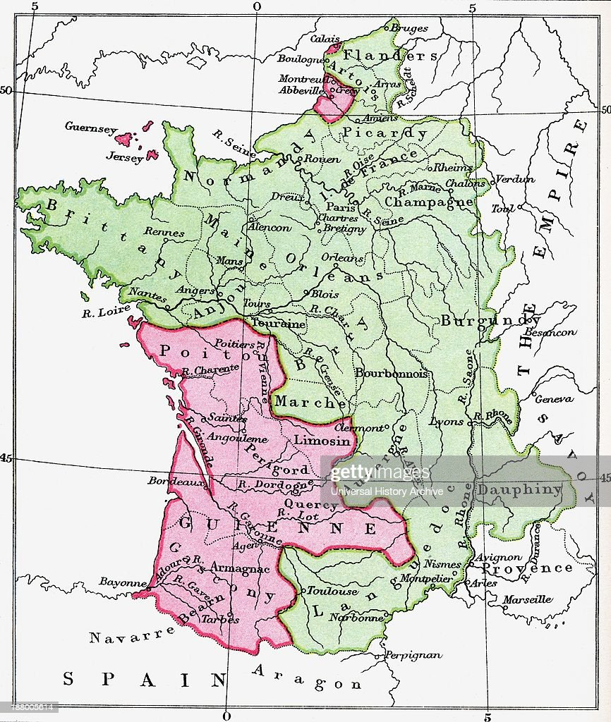 Map Of France Over Time.Map Of France At The Time Of The Treaty Of Bretigny 1360 From The
