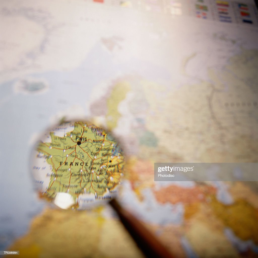 Map of France Under a Magnifying Glass : Foto de stock