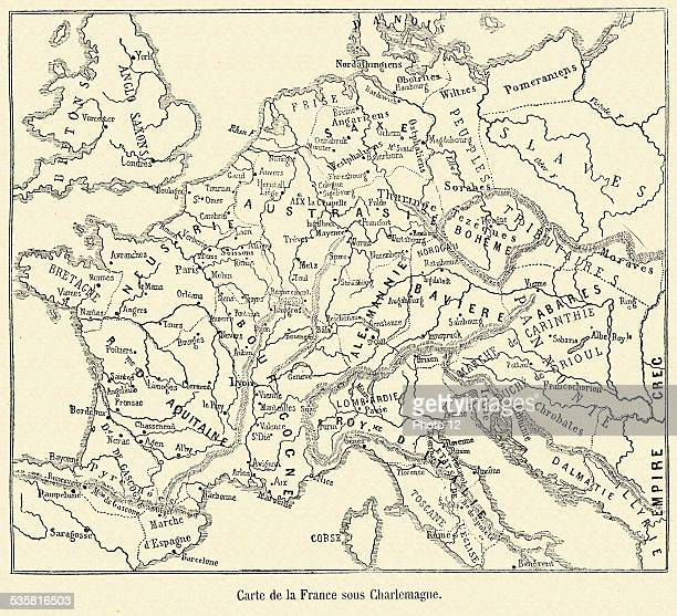 Map of France under occupation of Charlemagne 19th Century engraving