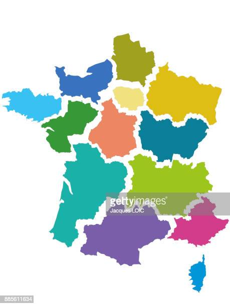 map of france with the 13 regions, adopted by the assemblee nationale (19th-20th november 2014) - france stock pictures, royalty-free photos & images