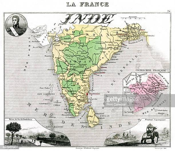 Map of Frenchoccupied India late 19th century