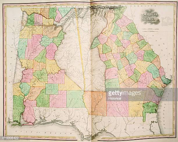 A map of Georgia and Alabama in 1823 prior to the Indian Removal Act of 1838 which forced out the Cherokee and Creek out of the Southeast to into the...