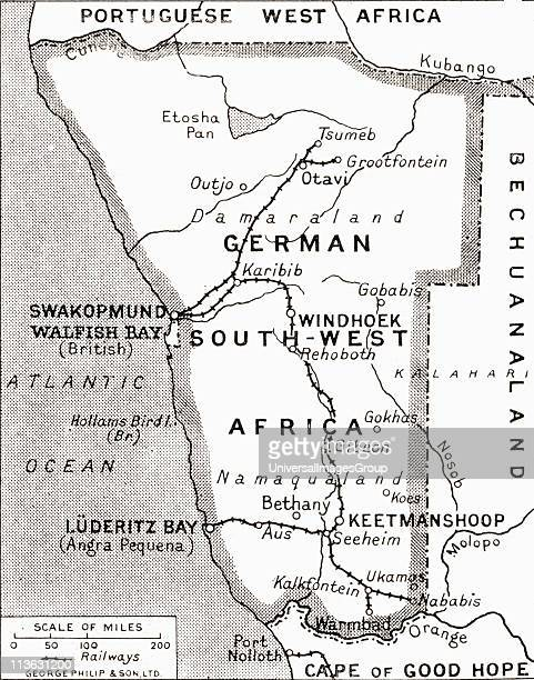 Map of German South West Africa scene of one of Britain's campaigns showing Walfish Bay and Keetmanshoop From The Illustrated War News published 1915