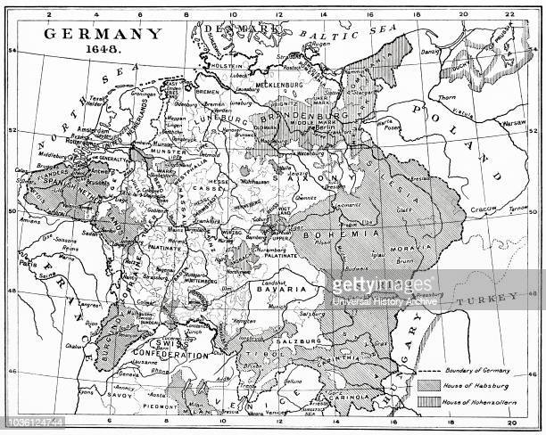 Map of Germany in 1648 after the Peace of Westphalia From Hutchinson's History of the Nations published 1915