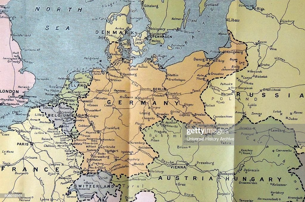 Map Of Germany In 1914.Map Of Germany Poland And The Low Countries 1914 News Photo