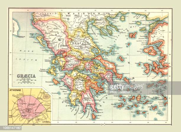 Map of 'Graecia' The provinces of Ancient Greece with inset of Athens From The Century Atlas of the World [John Walker Co Ltd London 1902] Artist...