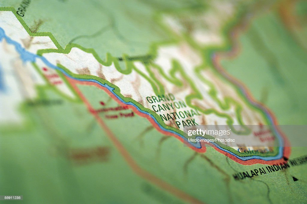 Map Of Grand Canyon Area Extreme Closeup High-Res Stock ...