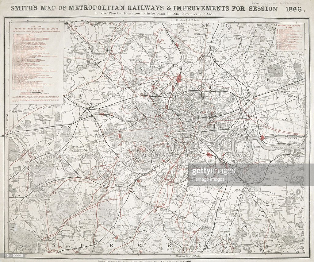 Map of Greater London showing the Metropolitan Railways and improvements in 1866. Artist: Anon : ニュース写真