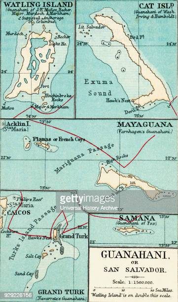 Map of Guanahani or San Salvador showing Watling Island where Christopher Columbus made landfall in 1492 From the book Life of Christopher Columbus...