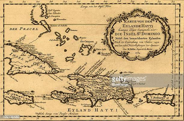 Map of Haiti Santo Domingo and Hispaniola by Jacques Nicholas Bellin 1754