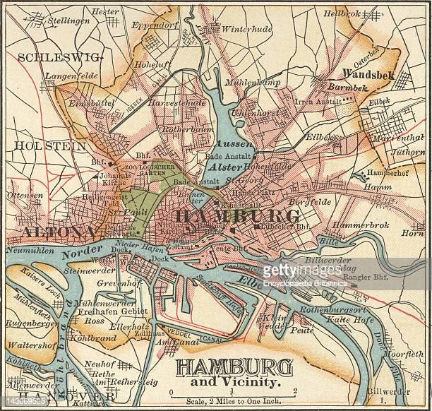 Map Of Hamburg Map Of Hamburg Circa 1900 From The 10Th Edition Of Encyclopaedia Britannica