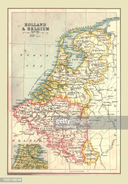 Map of Holland and Belgium 1902 Showing the North Sea and inset of Amsterdam From The Century Atlas of the World [John Walker Co Ltd London 1902]...