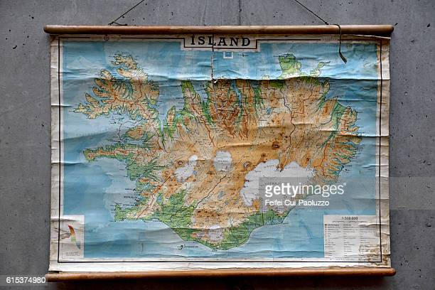 Map of Iceland in Höfn of Southern part Iceland