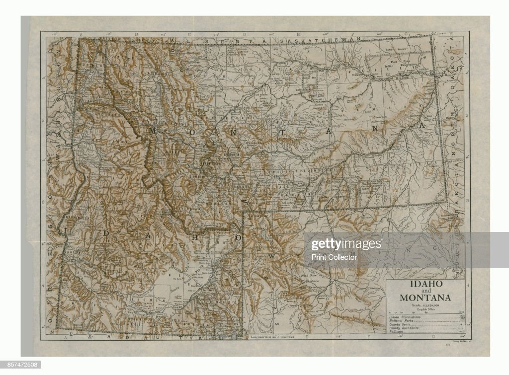 photo regarding Printable Map of Idaho identify Map of Idaho and Montana, United states.b Duotone Print, circa 1910s