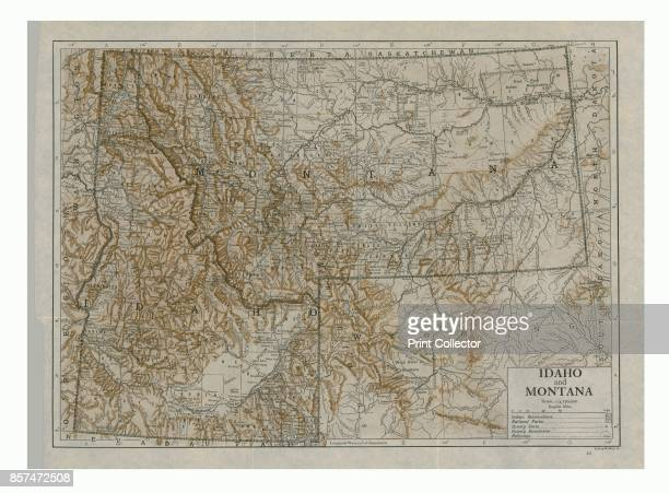 Map of Idaho and Montana USAb Duotone Print circa 1910s Artist Emery Walker Ltd
