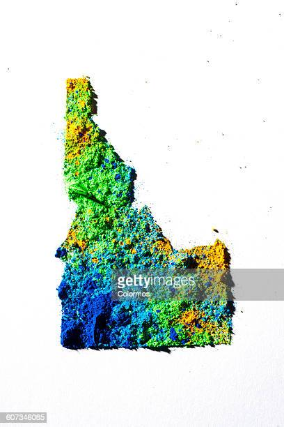 Map of Idaho, USA with colored powder