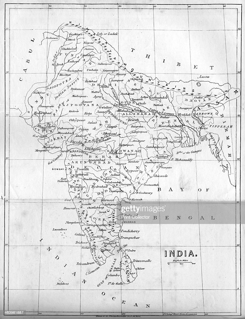 Map of India, 1847. : News Photo