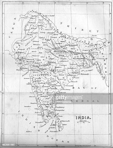 Map of India 1847 Illustration from The History of China and India by Miss Corner