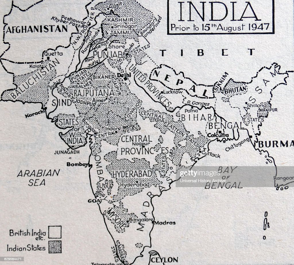 Map of India before the Partition of the British Indian Empire : News Photo