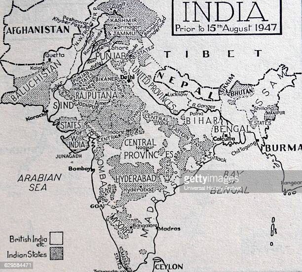 Map of India before the Partition of the British Indian Empire that led to the creation of India and Pakistan 1947