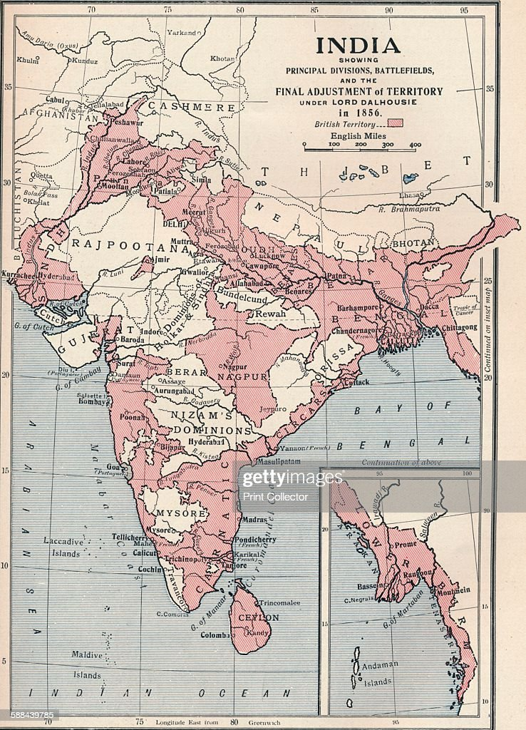 Map of India in 1856 (1906) : News Photo