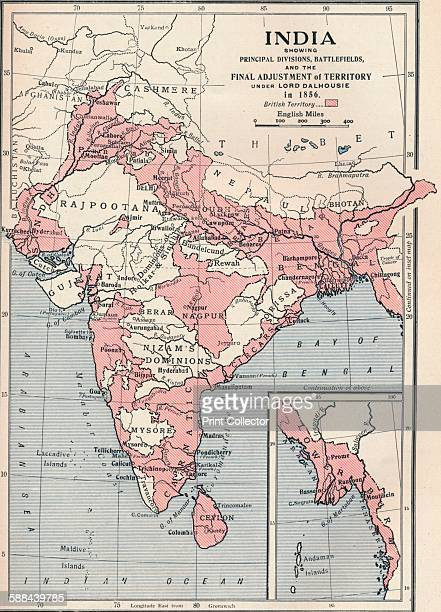 Map of India in 1856 From Cassell's History of England Vol VI