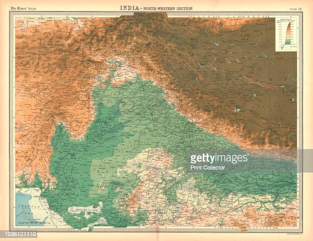 Map of India North Western Section Map showing Afghanistan and the Khyber Pass what is now Pakistan the Spin Ghar and Himalayan mountain ranges and...