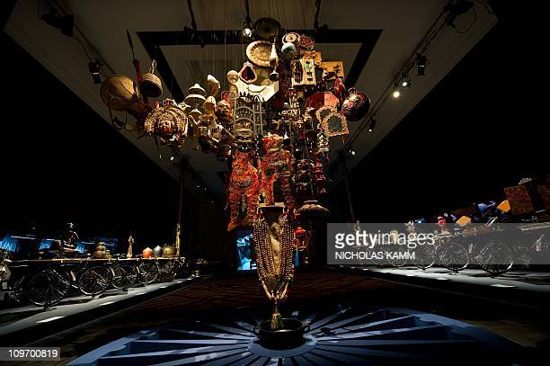 A map of India studded with handcrafted objects is seen during the press preview of the threeweek Maximum India festival at the Kennedy Center in...