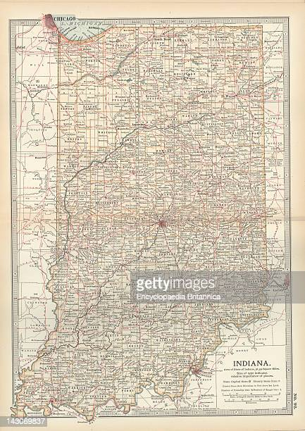 Map Of Indiana Map Of Indiana United States Circa 1902 From The 10Th Edition Of Encyclopaedia Britannica