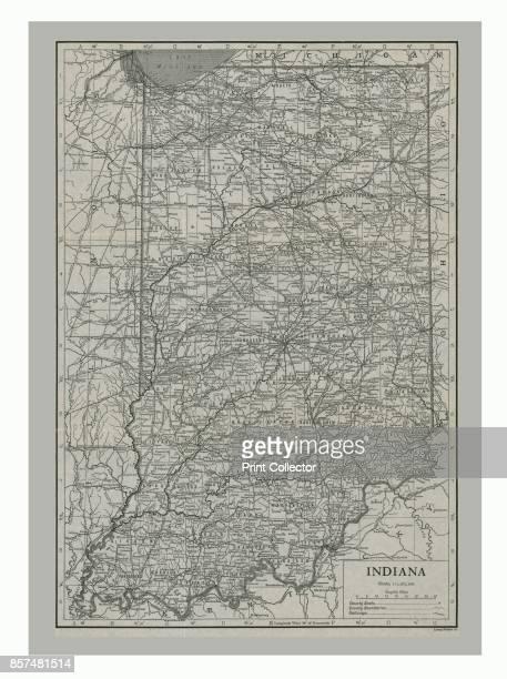 Map of Indiana USA circa 1900s Artist Emery Walker Ltd