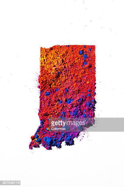 Map of Indiana, USA with colored powder