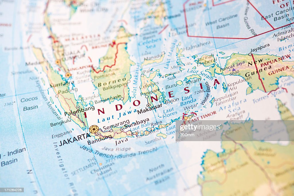 Map of Indonesia on the world globe : Stock Photo