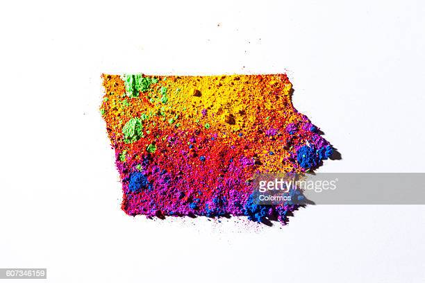 Map of Iowa, USA with colored powder
