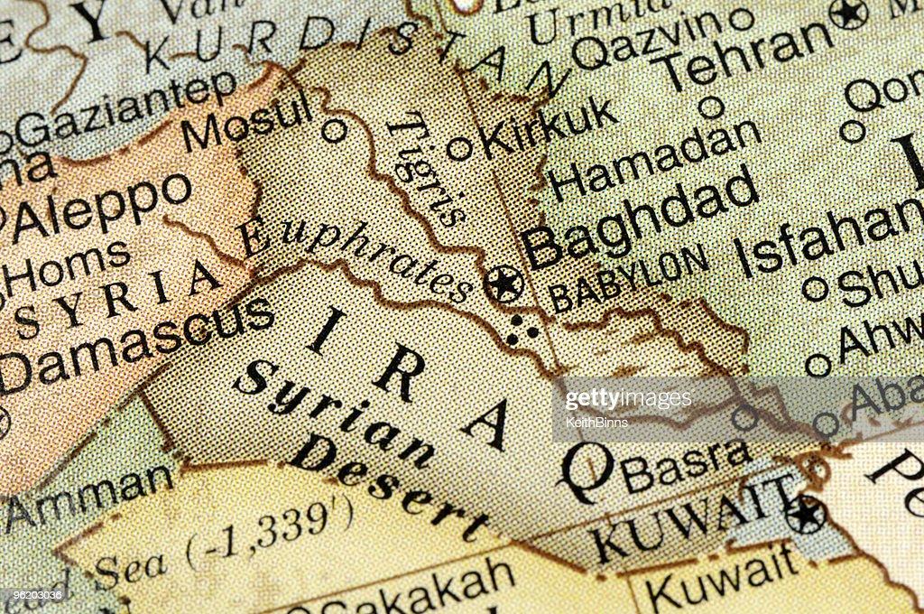 Map of IRAQ and surrounding neighbors : Stock Photo