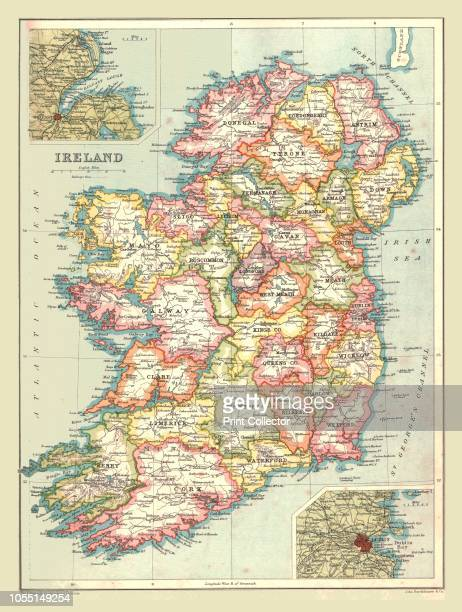 Map of Ireland, 1902. Showing the island of Ireland before the partition of the six counties which became Northern Ireland, with insets showing...